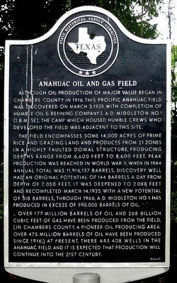 Anahuac Oil & Gas Field Marker image. Click for full size.