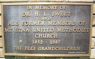 Mt. Etna United Methodist Church Marker image. Click for full size.