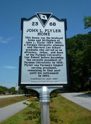 Side 1 of John L. Plyler Home Marker image. Click for full size.