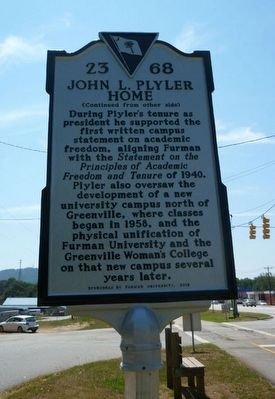 Side 2 of John L. Plyler Home Marker image. Click for full size.