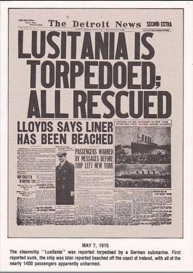 <i>Lusitania is Torpedoed; All Rescued<i> Headline image. Click for full size.