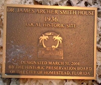 Dr. James Archer Smith House Marker image. Click for full size.