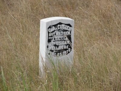 Memorial Marker of Lt. Col. Custer image. Click for full size.