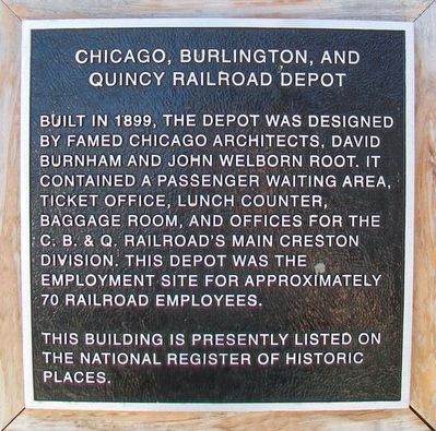 Chicago, Burlington, and Quincy Railroad Depot Marker image. Click for full size.