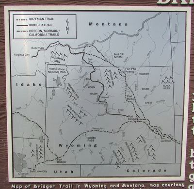Map of the Bridger Trail in Wyoming and Montana image. Click for full size.