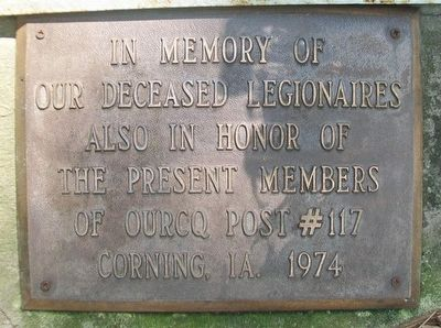 Ourcq American Legion Post #117 Memorial Marker in Central Park image. Click for full size.