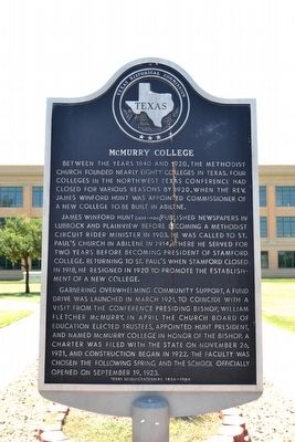 McMurry College Marker image. Click for full size.
