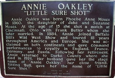 "Annie Oakley ""Little Sure Shot"" Marker image. Click for full size."