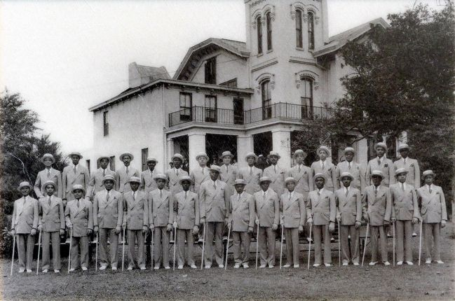The Elks Public Appearance Club in front of the Elks headquarters, 1930s image. Click for full size.