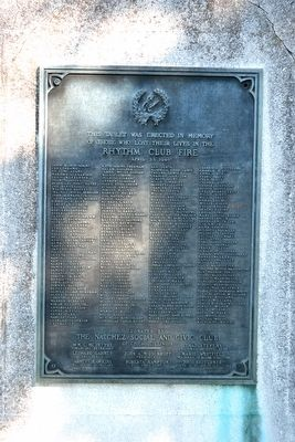 Memorial Tablet on Rhythm Club Monument image. Click for full size.
