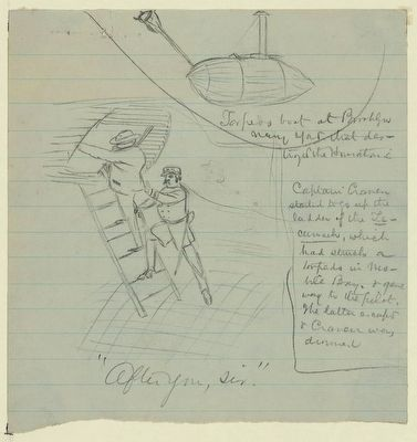 Sketch of Captain T.A.M. Craven and his pilot, climbing a ladder on the Tecumseh image. Click for full size.