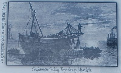 Confederates Sinking Torpedoes by Moonlight image. Click for full size.