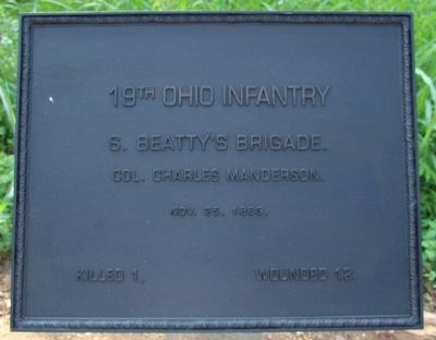 19th Ohio Infantry Marker image. Click for full size.
