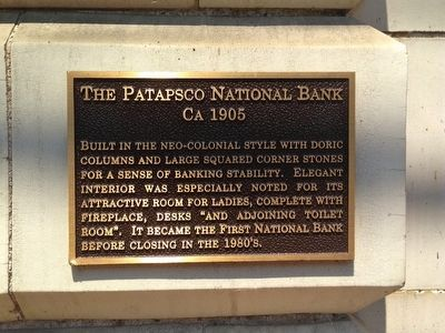 The Patapsco National Bank Marker image. Click for full size.