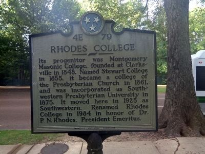 Rhodes College Marker image. Click for full size.