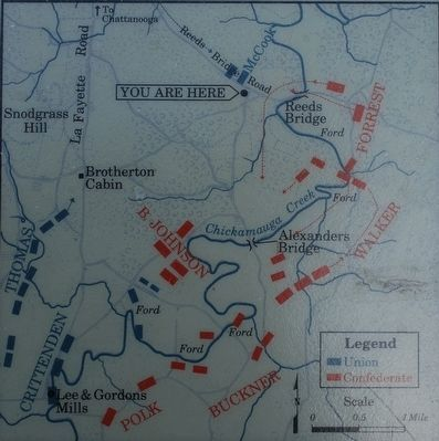 Confederates Cross the Creek Marker Map image. Click for full size.
