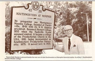 Marker with the orginal name Southwestern at Memphis image. Click for full size.