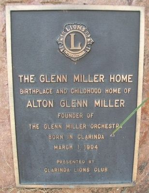 The Glenn Miller Home Marker image. Click for full size.