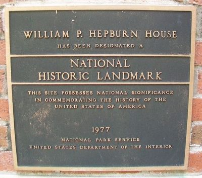 William P. Hepburn House NHL Marker image. Click for full size.