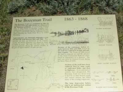 The Bozeman Trail       1863 – 1868 Marker image. Click for full size.
