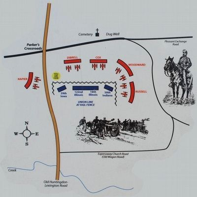 Battle of Parker's Crossroads Marker Map image. Click for full size.