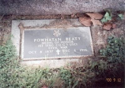 Powhatan Beaty Grave Marker image. Click for full size.