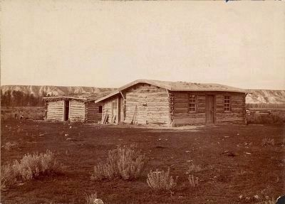 Log cabin on the Chimney-Butte Ranch near Medora, N.D., the home of President Roosevelt, 1883-84 image. Click for full size.