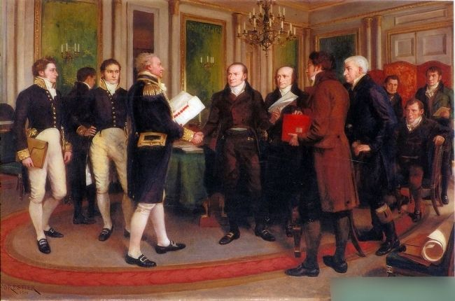 The Signing of the Treaty of Ghent, Christmas Eve, 1814 image. Click for full size.