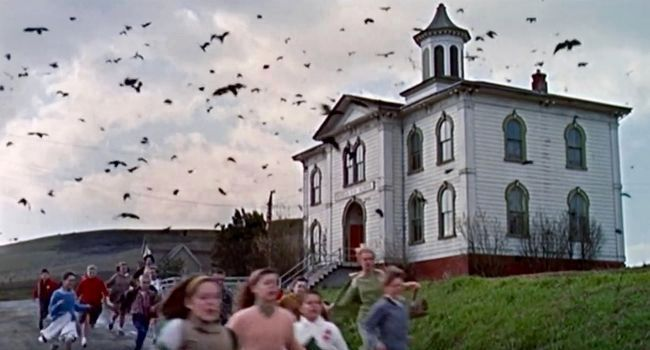 The Potter School in Hitchcock&#39;s <i>The Birds</i> image. Click for full size.