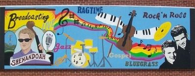 Music Programming Mural on KMA Radio Station Wall image. Click for full size.