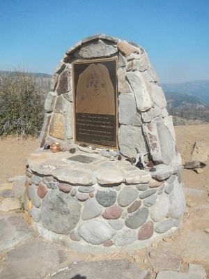 This monument to <i>Ishi</i> is located near the Lassen Trail - The Narrows Marker image. Click for full size.