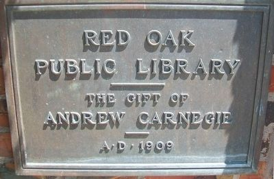 Red Oak Public Library Marker image. Click for full size.