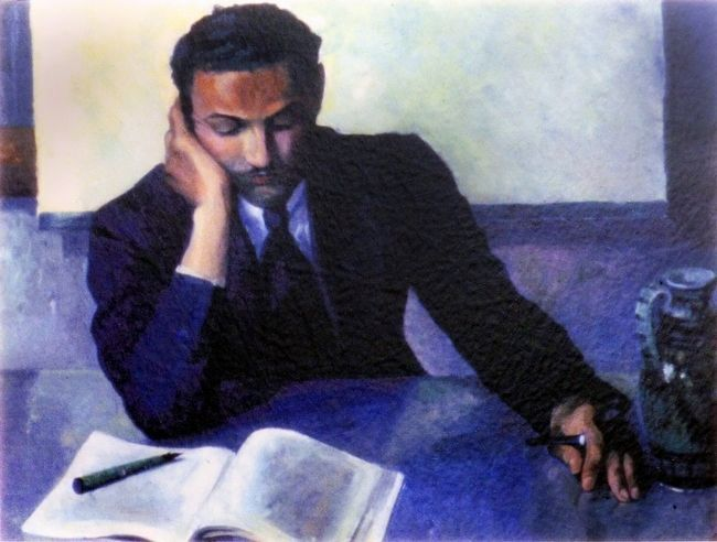 <i>Young Man Studying</i> [Lanston Hughes] image. Click for full size.