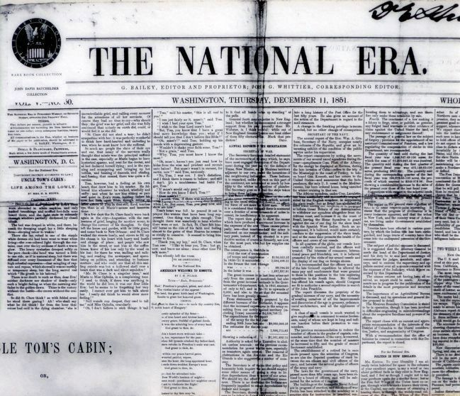The National Era<br>Thursday December 11, 1851. image. Click for full size.
