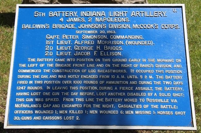 5th Indiana Battery Marker image. Click for full size.