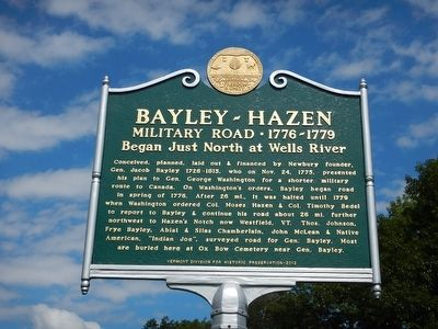 Bayley-Hazen Military Road Marker image. Click for full size.