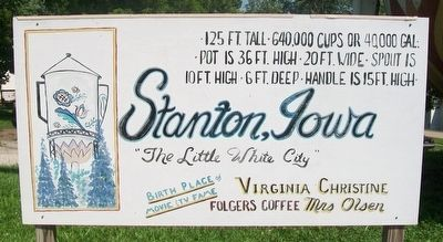 Birth Place of Virginia Christine, Folgers Coffee <i>Mrs. Olsen</i> Marker image. Click for full size.
