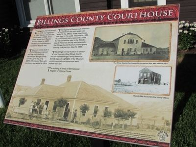 Billings County Courthouse Marker image. Click for full size.