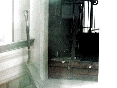 First Congregational Church Marker in storage image. Click for full size.