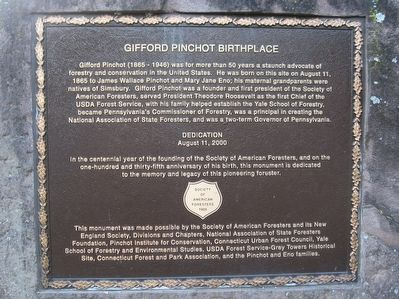 Gifford Pinchot Birthplace Marker image. Click for full size.