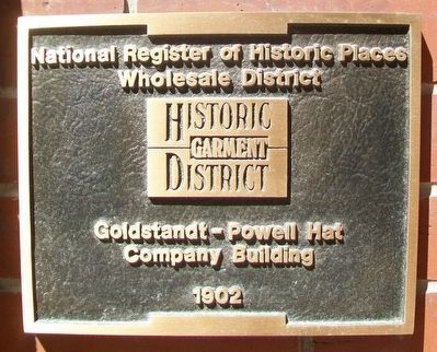 Goldstandt-Powell Hat Company Building NRHP Marker image. Click for full size.