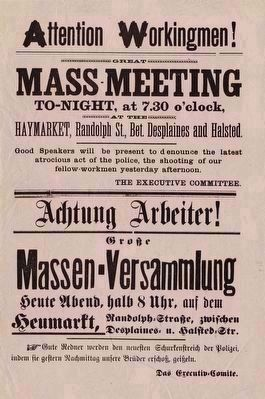 Haymarket Square Mass Meeting Flier image. Click for full size.