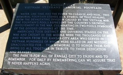 Kansas City Vietnam Veterans Memorial Fountain Marker image. Click for full size.