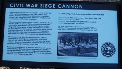 Civil War Siege Cannon Marker image. Click for full size.