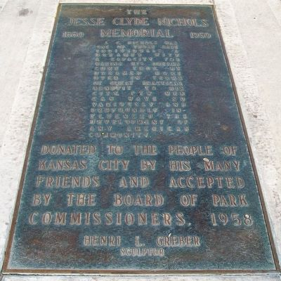 The Jesse Clyde Nichols Memorial Fountain Marker image. Click for full size.