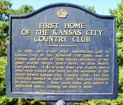 First Home of the Kansas City Country Club Marker image. Click for full size.
