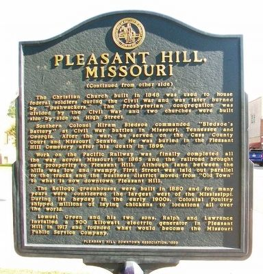 Pleasant Hill, Missouri Marker (Side B) image. Click for full size.