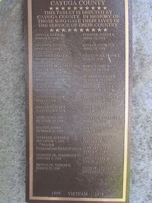 Cayuga County Vietnam Memorial Plaque image. Click for full size.