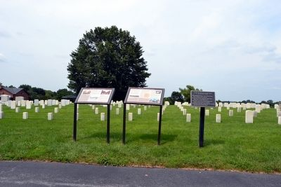 Mill Springs National Cemetery (L) and<br>A National Cemetery System (R) Markers image. Click for full size.