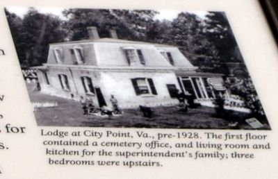 Lodge at City Point, Virginia, pre-1928 image. Click for full size.